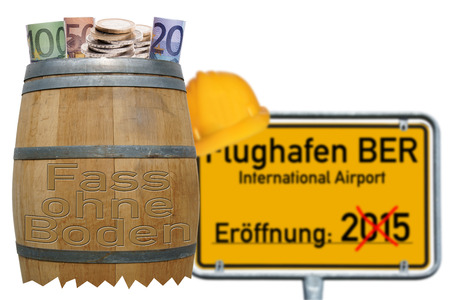bottomless: bottomless pit and sign with the german words Airport BER
