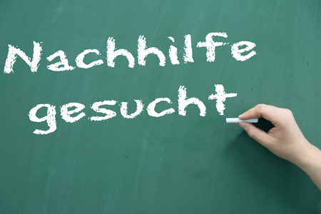 sought: Chalkboard with the german words sought tuition