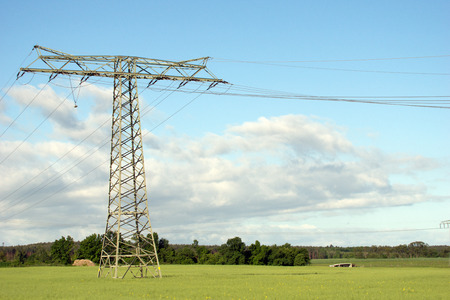 electricity export: Power pole on a field