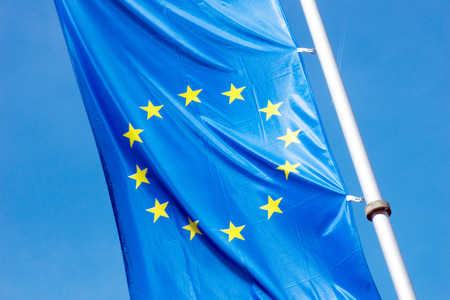 euro area: Europe flag and blue sky