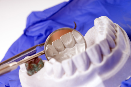 Mouth mirror and model of a human teeth photo