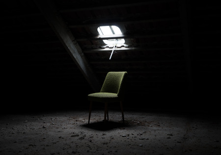 incidence: Chair in an abandoned room Stock Photo