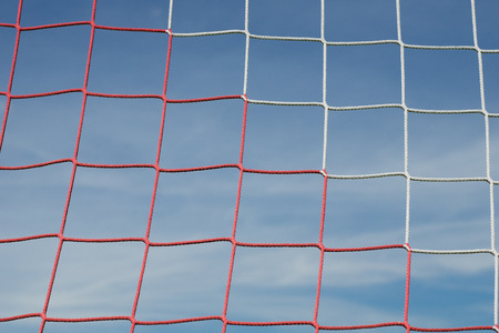 soccer net: Soccer net and blue sky Stock Photo