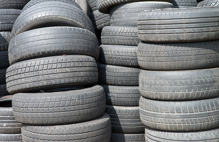 retreading: old stacked tires Stock Photo