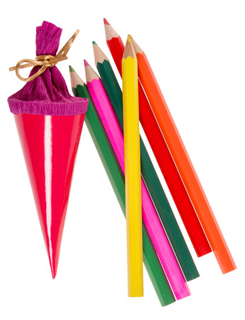 Sugar bag and crayons for Back to School isolated over a white background photo
