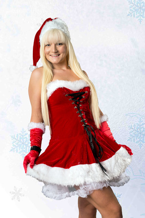 christmas costume: pretty woman in christmas costume