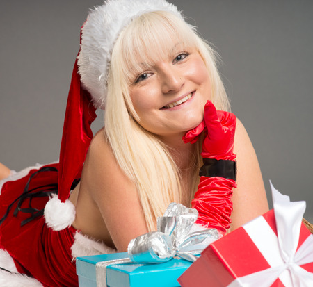 pretty woman with Christmas presents photo