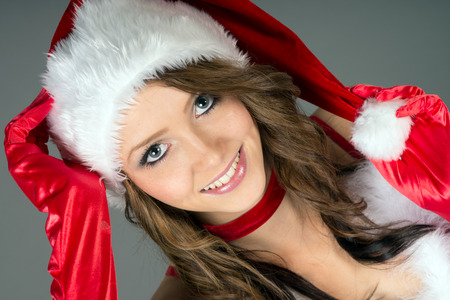 pretty woman in christmas costume photo