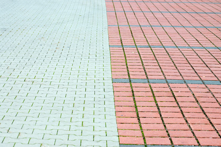 demarcation: Paving stones in a parking lot