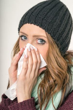 incapacitated: sick woman with a handkerchief Stock Photo