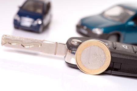 Car key with euro money photo