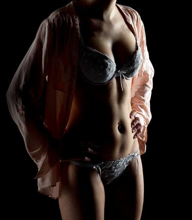 mujer desnuda: mujer sexy en ropa interior  Foto de archivo