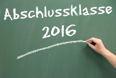 final examination: Chalkboard with the german words graduating class 2016