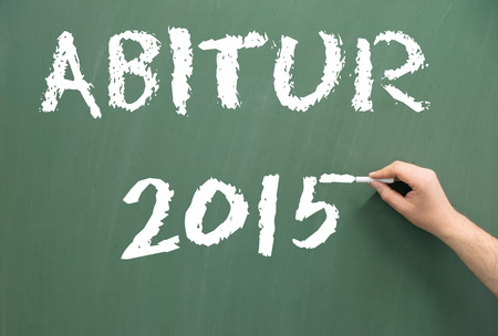 final examination: Chalkboard with the word Abitur 2015
