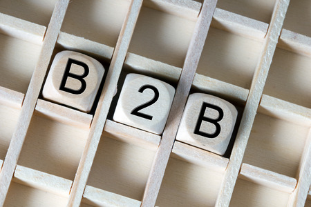 business process: Wooden dice with the abbreviation B2B