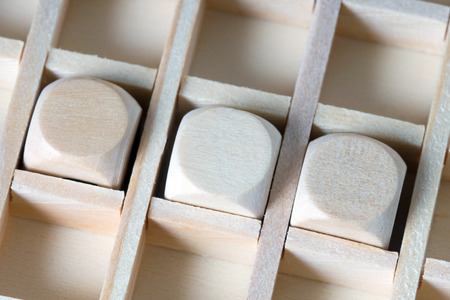 inscribe: three wooden cubes to inscribe Stock Photo
