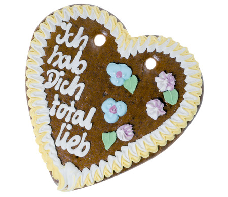 love proof: Gingerbread heart with the german words I got you totally sweet Stock Photo