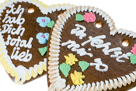 love proof: two gingerbread hearts Stock Photo