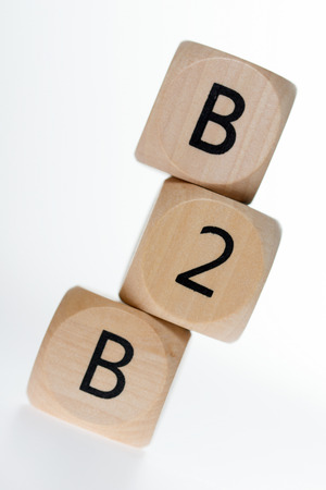b2b: wooden dice with the abbreviation B2B