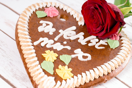 love proof: Gingerbread heart with the words I miss you so