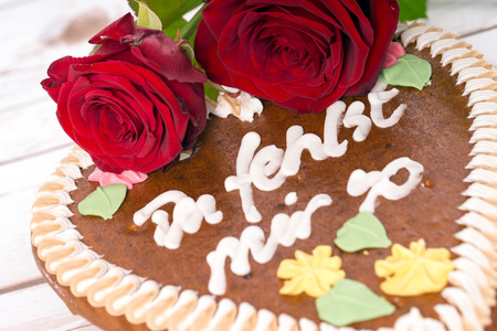 i miss you: Gingerbread heart with the words I miss you so