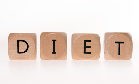 weight reduction plan: wood dice with the word Diet