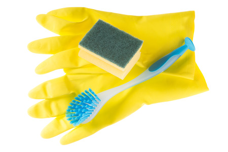 exempted: Cleaning sponge and gloves with brush isolated over a white background Stock Photo