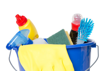 brush in: Cleaner with brush in a bucket