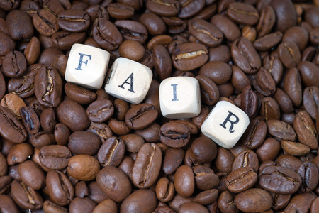 developing country: coffee beans with the word fair