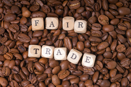 developing country: coffee beans with the word fair trade