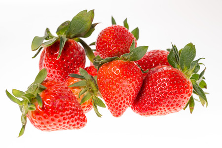 exempted: many Strawberries isolated over a white background Stock Photo