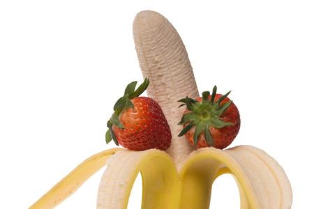 peeled banana: peeled banana and two strawberries