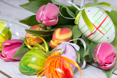 heralds: beautiful tulips with easter eggs