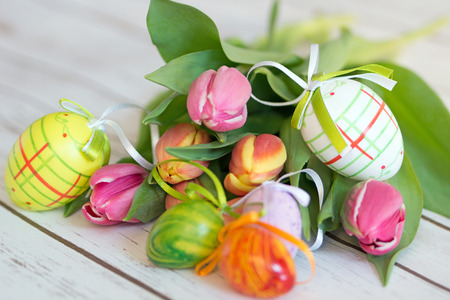 floristics: beautiful tulips with easter eggs