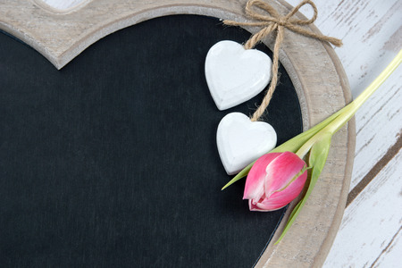 cordial: Wooden panel in heart shape with tulip