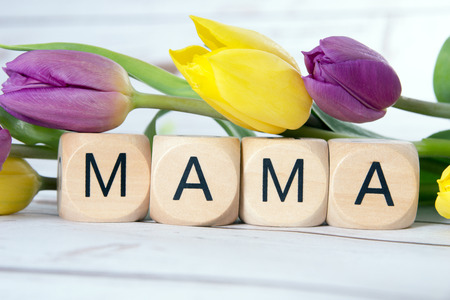 mama: Wooden cube with tulips and the word Mama Stock Photo