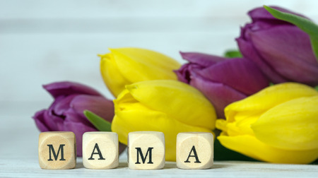 flowerpower: Wooden cube with tulips and the word Mama Stock Photo