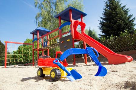 sandbox: Sand toys in a sandbox Stock Photo