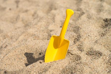 the sandbox: Sand toys in a sandbox Stock Photo