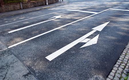 road marking: Road Marking with turn arrow Stock Photo