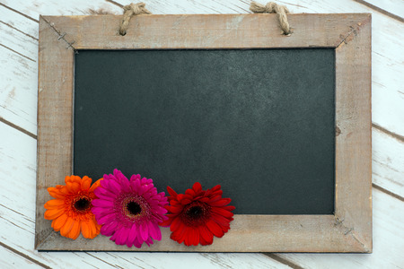 Wooden panel with Gerberas