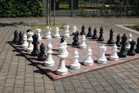 large chessboard in a outdoor area Stock Photo