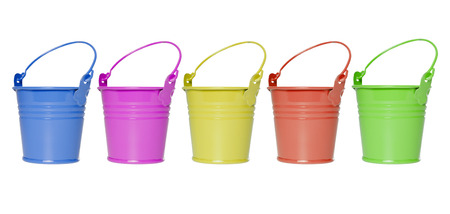 exempted: many colorful buckets isolated on white background