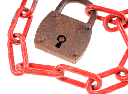iron chain: Padlock with a red iron chain