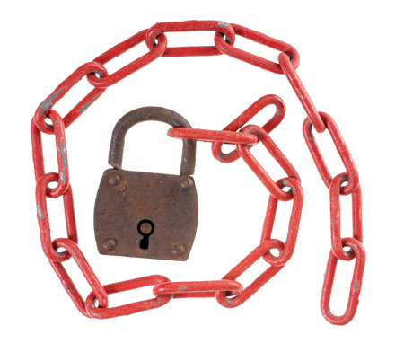 exempted: Padlock with a red iron chain isolated over a white backgound