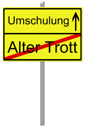 retraining: Sign with the german words Retraining and old routine