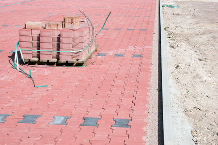 demarcation: Cobblestones on a construction site Stock Photo