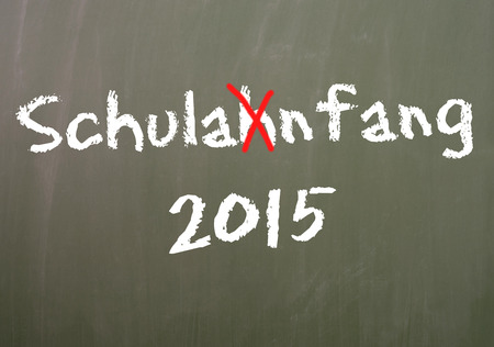 grade school age: Chalkboard with the German word Back to School and the year number 2015 Stock Photo