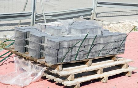 demarcation: Cobblestones on a construction site Stock Photo