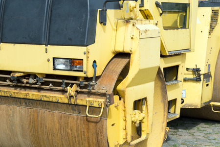 road roller: detailed view of a road roller Stock Photo